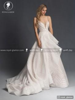 لباس عروس با دامن چین دار بلند
