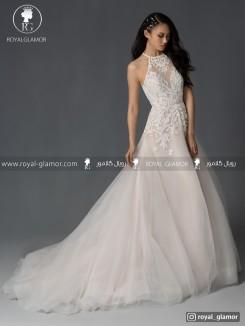 لباس عروس یقه بسته بلند