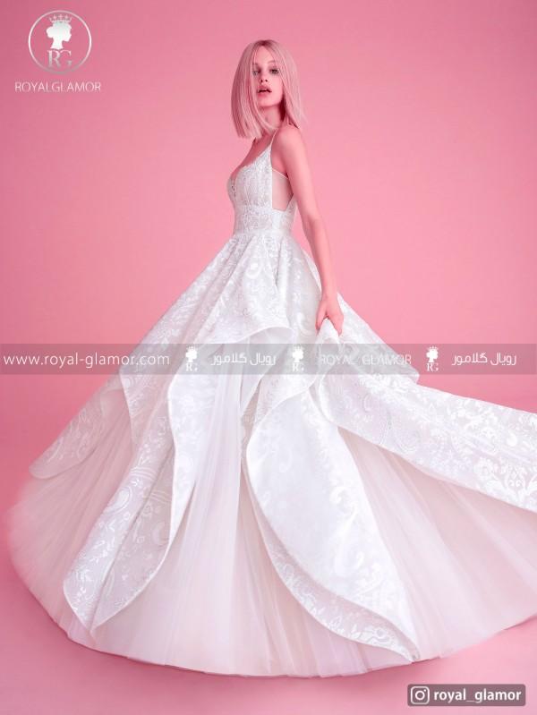 لباس عروس دامن پفی چین دار