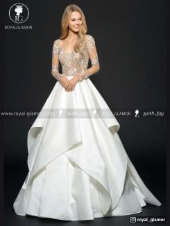 لباس عروس دامن چین دار
