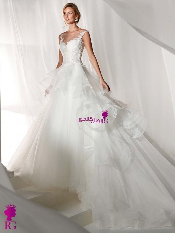 لباس عروس پفی دنباله دار جدید