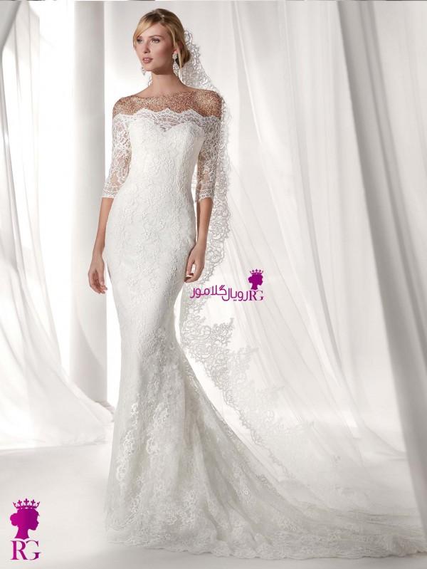 لباس عروس ماهی دکلته گیپور