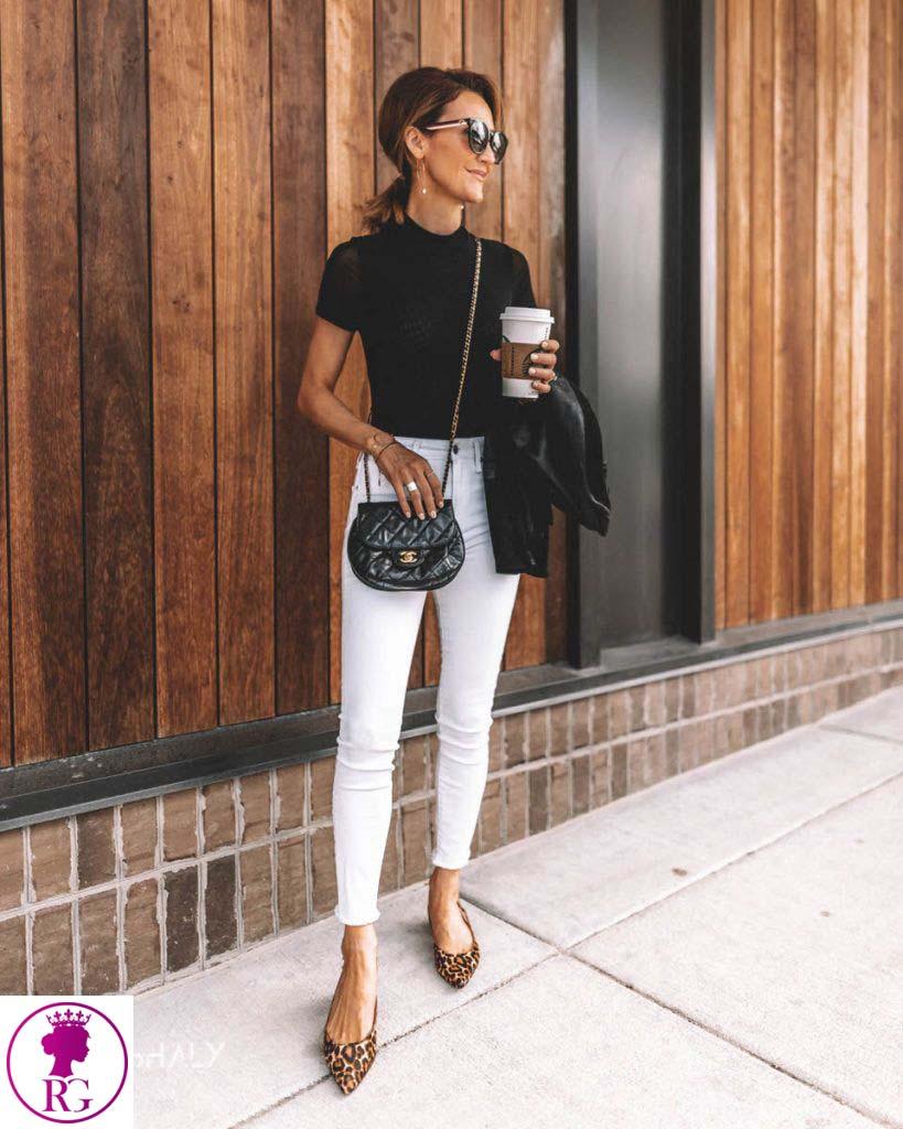 ست استایل سفید و مشکی و کفش پاشنه بلند پلنگی